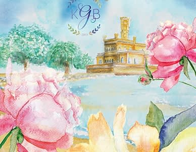Featured Image International bilingual wedding invitation - watercolor illustrations German and English
