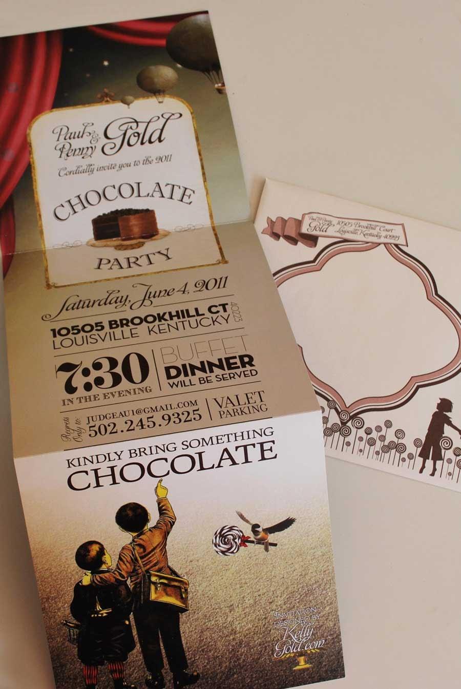 Chocolate Wonderland Chocolate Party Invitation with Envelope Design Studio Louisville, KY