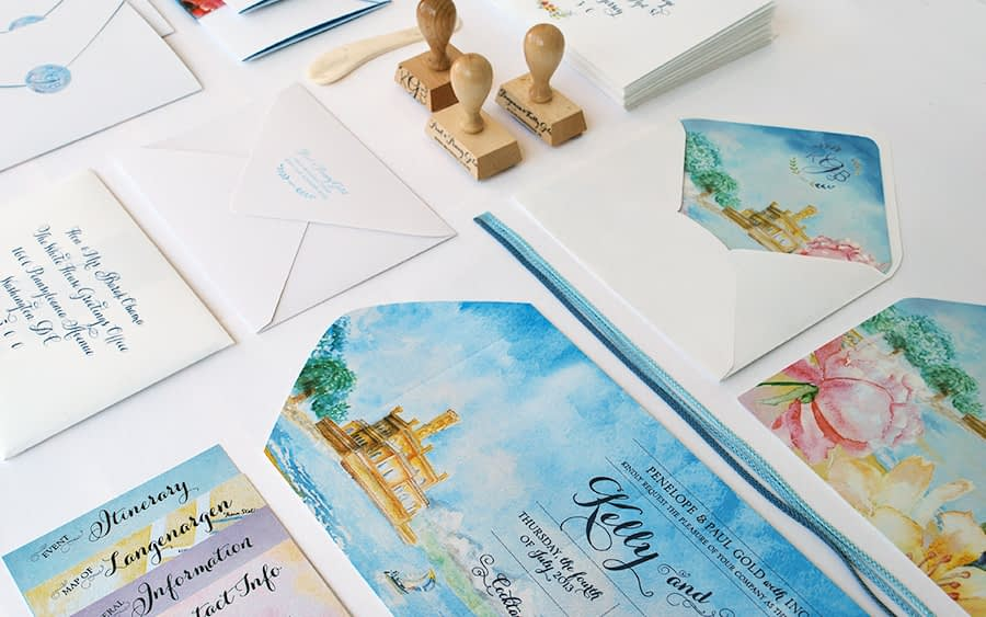 International bilingual wedding invitation - watercolor illustrations German and English