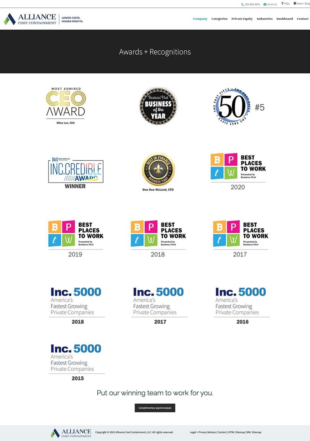 Screenshot of ACC awards page wordpress website design