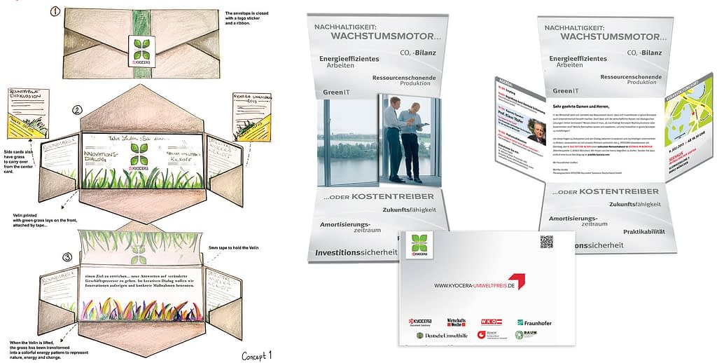 Kyocera Umweltpreis concept sketches Invitation