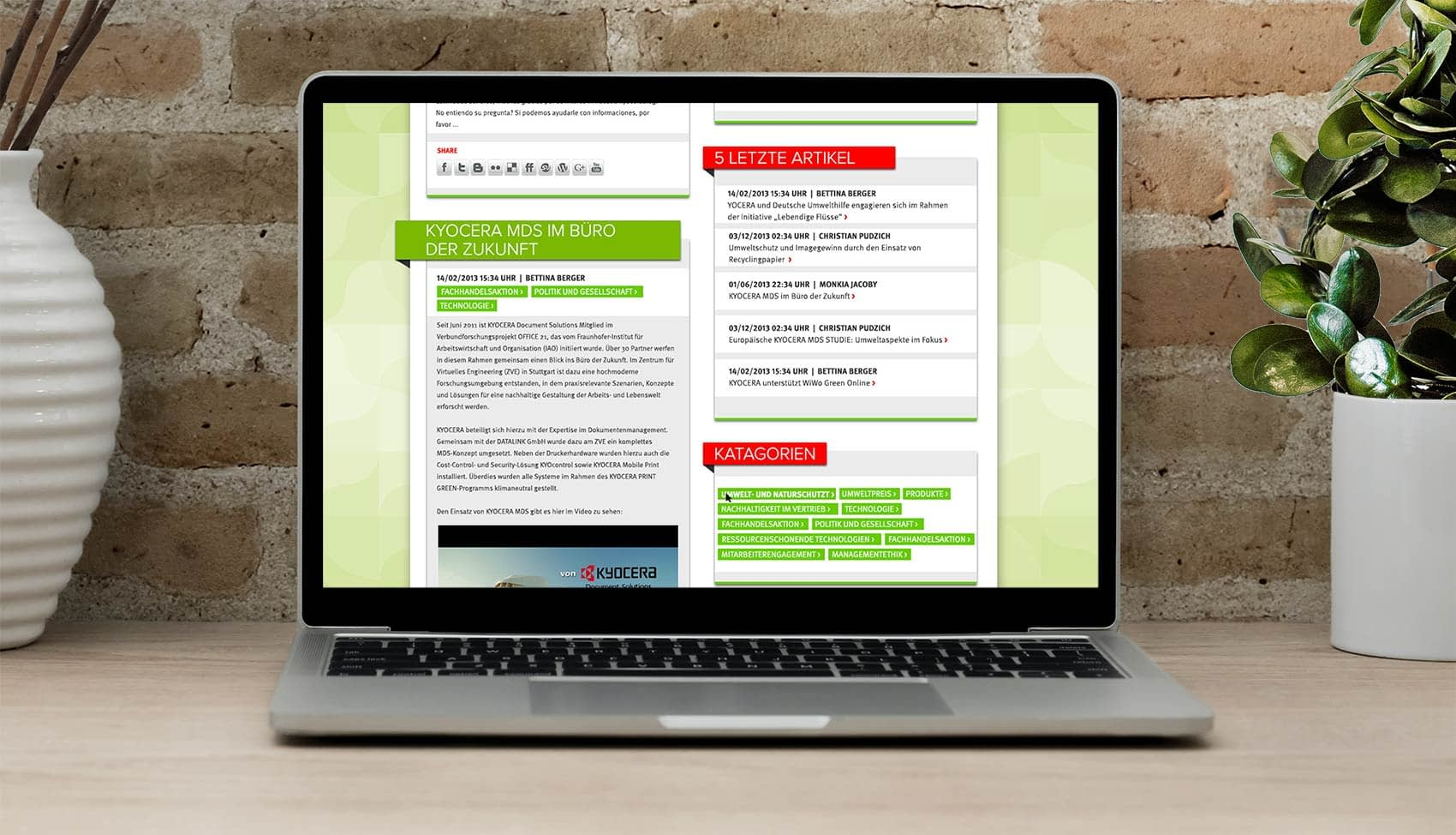 Website front end design screen for Kyocera Documents - Kelly Gold Creative Design