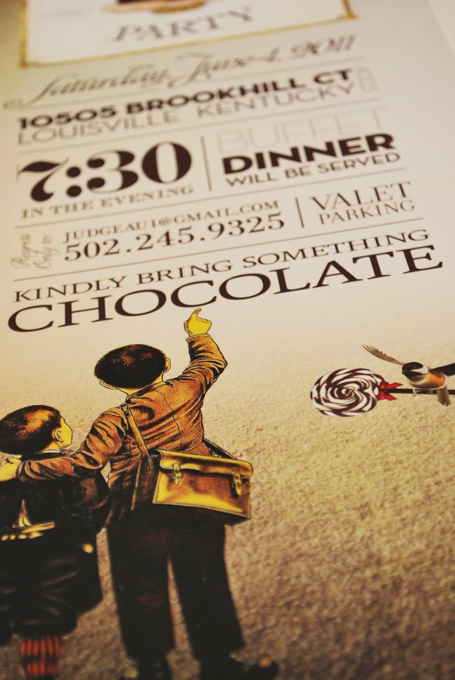 Chocolate Wonderland Chocolate Party Invitation Design Studio Louisville, KY