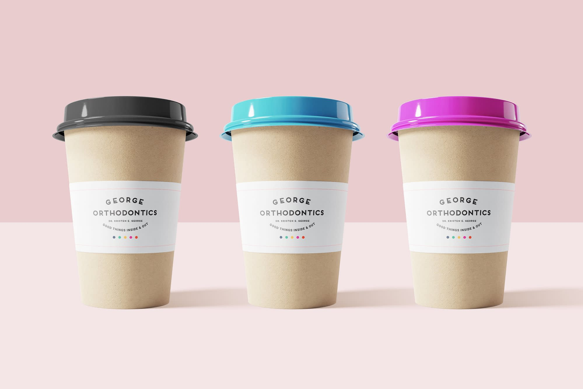 Disposable cup deign for George Orthodontics branding and logo design - gold creative design, llc