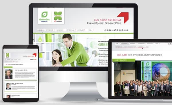Kyocera Umweltpreis Environmental Prize Design Layouts on Screen