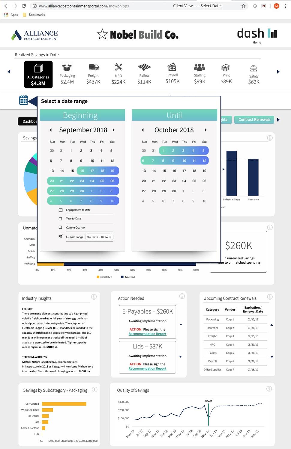 UX / UI project page mockup Caendar