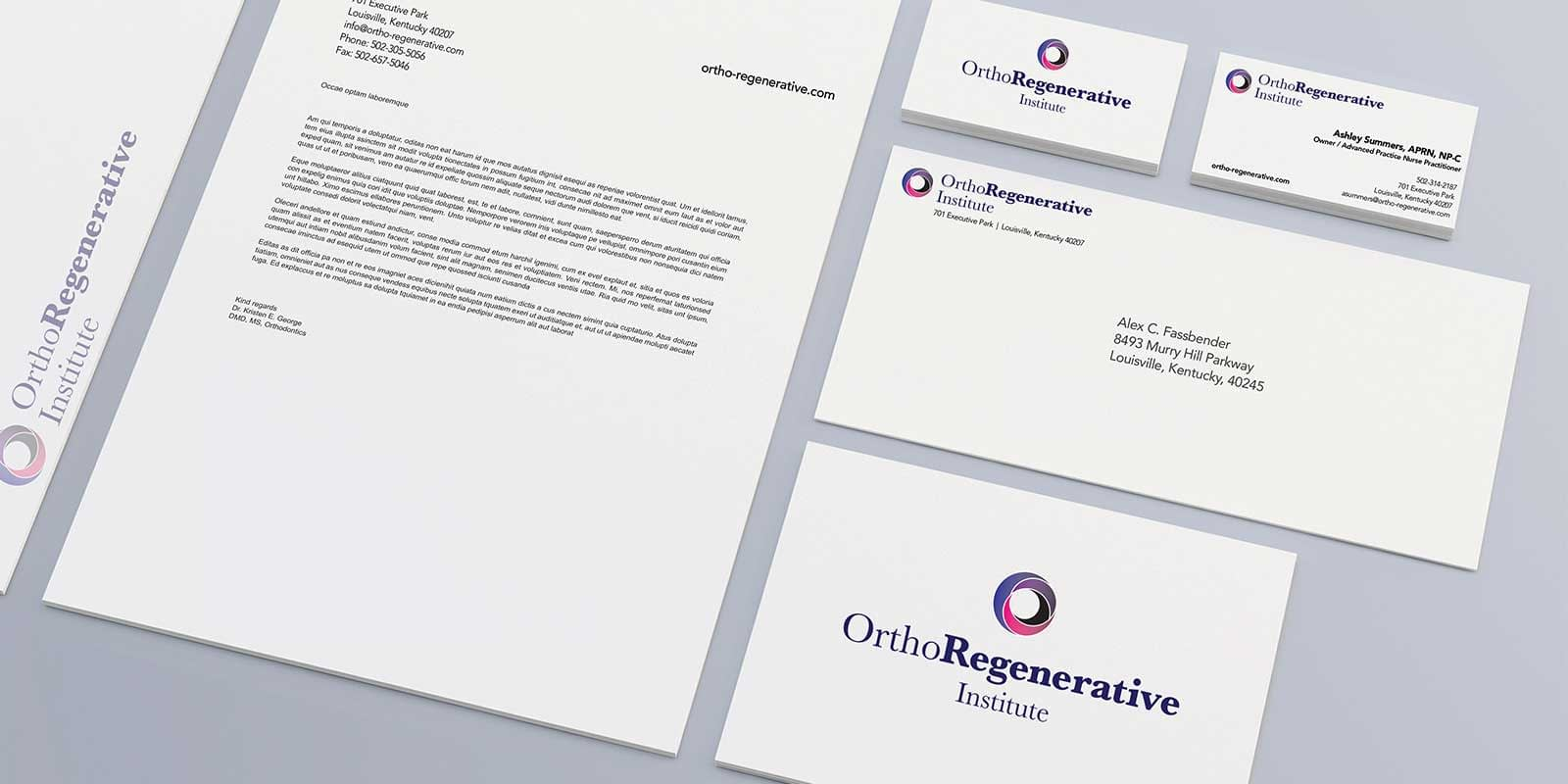 OrthoRegenerative Institute Brand Collateral by Gold Creative Design in Louisville, KY - Stationary Set