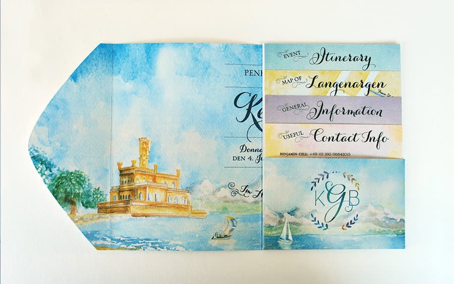 International bilingual wedding invitation - watercolor illustrations German and English