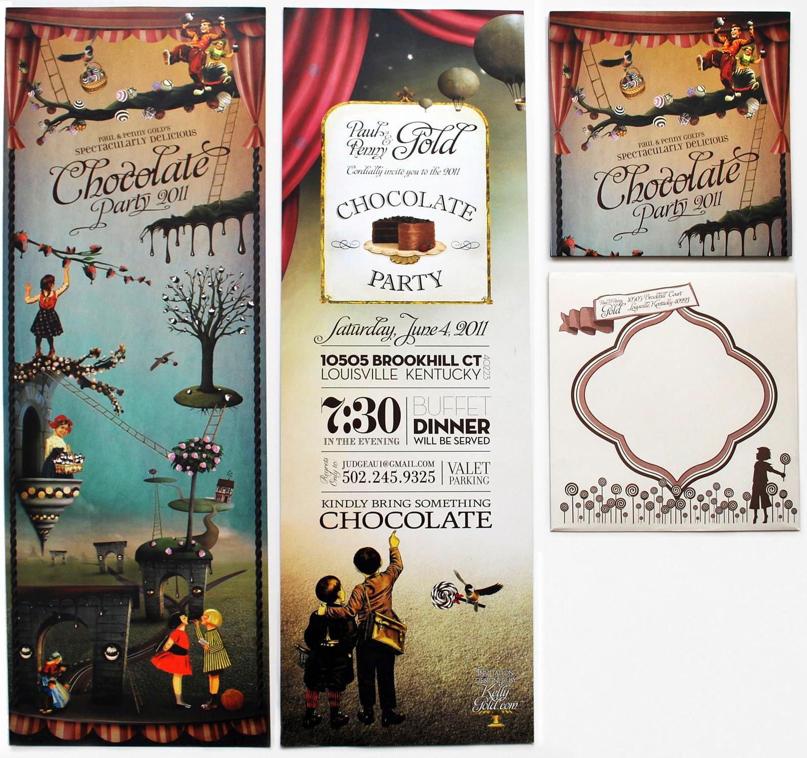 Chocolate Wonderland Chocolate Party Invitation with Envelope Design Studio full set Louisville, KY